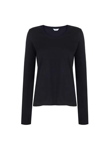 Deux Beautés Blanche Bisiklet Yaka Uzun Kollu T-Shirt Siyah
